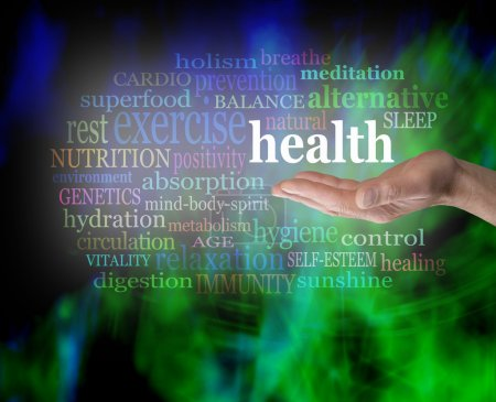Photo for Male hand outstretched with the word 'Health' floating above, surrounded by a word cloud on a vibrant green and blue modern grunge background - Royalty Free Image