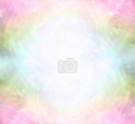 Photo pour Ethereal arc-en-ciel de couleur fond avec paillettes et tourbillons représentant un champ d'énergie de guérison de lumière - image libre de droit
