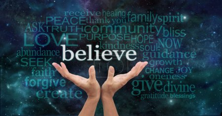 Photo for Female hands reaching up into the night sky with the word 'believe' floating above, surrounded by a word cloud of wise words - Royalty Free Image