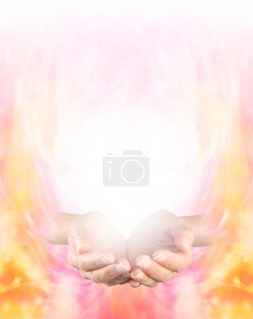 Photo pour Mains coupées femelles sur un fond de formation d'énergie dorée graduant au blanc au sommet offrant beaucoup d'espace de copie - image libre de droit