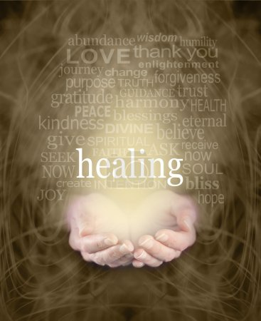 Photo for Female cupped hands with the word 'healing' floating above surrounded by a healing word cloud on a swirling misty sepia colored energy background - Royalty Free Image