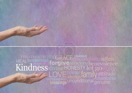 Photo pour Femme main tendue avec paume vers le haut et le mot gentillesse planant au-dessus entouré d'un nuage de mot pertinent sur un fond pastel couleur effet pierre - image libre de droit