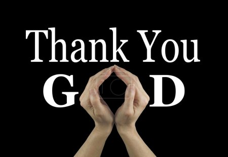 Photo pour Mains de femmes faisant un ' o ' forme dans la parole de Dieu sur un fond noir avec ci-dessus je vous remercie - image libre de droit