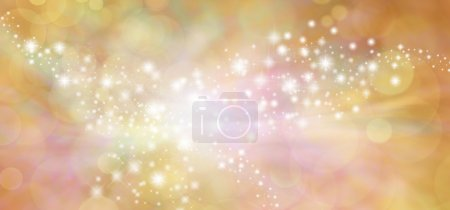 Golden starry glitter warm toned bokeh background banner
