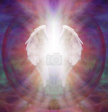 Photo pour Ange blanc symbolique isolée des ailes avec un éclat de lumière blanche entre sur un fond de modèle multicolore sacré éthérée complexe - image libre de droit