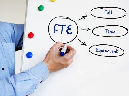 Photo pour ETP Équivalent temps plein texte écrit. Main masculine avec marqueur écrire sur le tableau blanc - image libre de droit