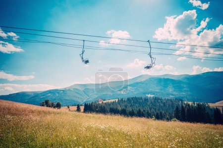 Emtpy chairlift in ski resort