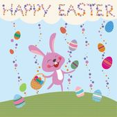 Funny bunny rabbit and Easter eggs
