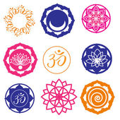 Vector Set Yoga Labels and Icons in colors
