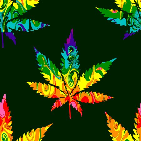 Illustration for Abstract Cannabis Seamless Pattern Background Vector on green - Royalty Free Image