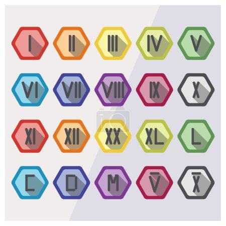 Roman numerals flat icon set
