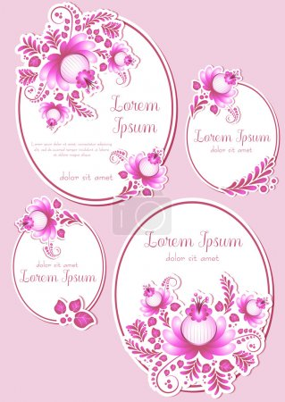 Illustration for Greeting oval labels with pink floral ornament. Cards in four variants for Women's Day, Mother's Day, Bithday, Anniversary. Vector illustration - Royalty Free Image