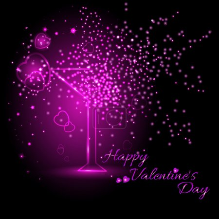 Greeting card with wine glass on Valentine's day. February 14 - day for all lovers