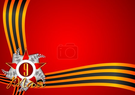 Illustration for Holiday background in red with Georgievsky ribbon and star on Victory Day. May 9 in russian. Vector illustration - Royalty Free Image