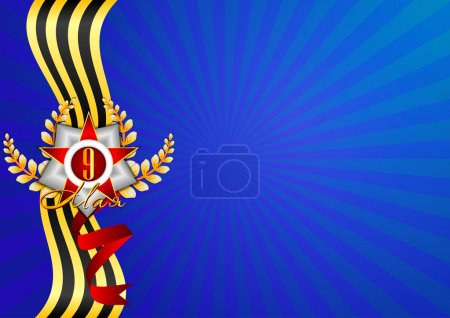 Illustration for Holiday background in blue with Georgievsky ribbon and star with date 9 inside on Victory Day. May 9 in russian. Vector illustration - Royalty Free Image