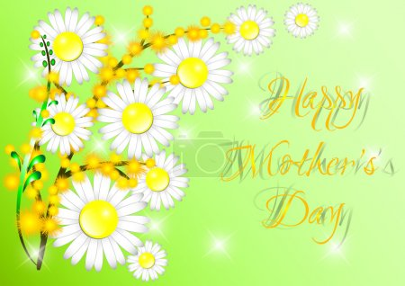 Illustration for Greeting card with daisies and mimosa on Mother's day on green. Vector illustration - Royalty Free Image