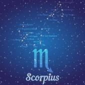 Zodiac constellation Scorpius - position of stars and their names