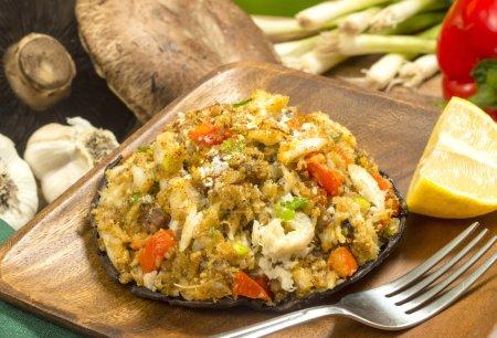 Crab stuffed portobello mushrooms