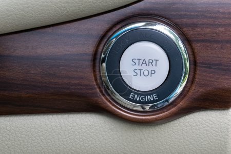 Photo for Engine start stop button from a modern car interior - Royalty Free Image