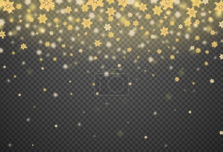 Snowflake gold glitter particles isolate on png or transparent  background with sparkling  snow, star light  for Christmas, New Year, Birthdays, Special event, luxury card,  rich style.  vector