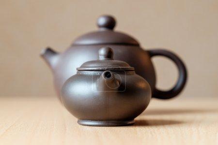 Brown ceramic teapots