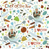 Chef of the Year seamless pattern Vector art for web page backgrounds postcards greeting cards invitations wedding pattern fills surface textures Awesome for children bedroom