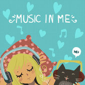 Vector cartoon romantic illustration of young girl with cute funny cat listening music in headphones For ui web games tablets wallpapers and pattern