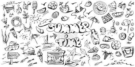 Illustration pour Ensemble de dessins d'été à la main sur un fond blanc isolé. Flyer créatif ou affiche. Illustration vectorielle graphique. - image libre de droit