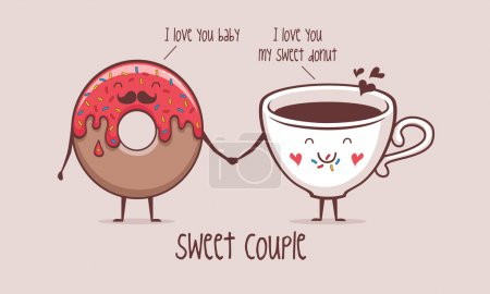 Illustration for Sweet couple coffee and donut  vector illustration - Royalty Free Image