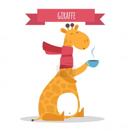 Illustration pour Mignon animal Girafe vecteur illustration - image libre de droit