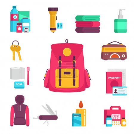 Illustration for Documents, radio, candle, matches, first aid kit, knife, clothes, keys, a blanket, water, food, flashlight - Royalty Free Image