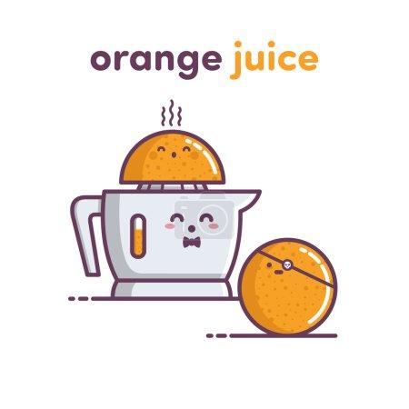 Illustration pour Orange, presse-agrumes, jus, fruits, illustration - image libre de droit