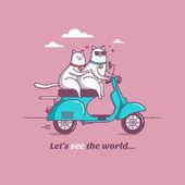 Illustration cat travel