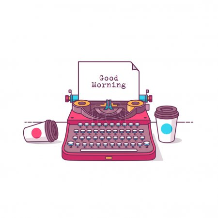 Illustration for Flat design style modern vector illustration typewriter with coffee. Isolated on stylish color background - Royalty Free Image