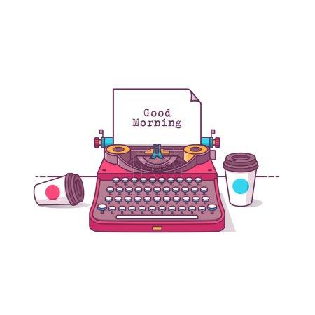 Illustration pour Machine à écrire vectorielle moderne de style design plat avec café. Isolé sur fond de couleur élégant - image libre de droit