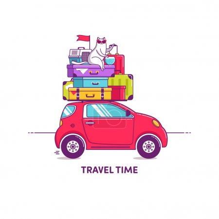 Illustration for Travel car illustration car with luggage - Royalty Free Image