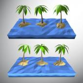 Vector Low polygon 3D palm tree on lonely island in the ocean