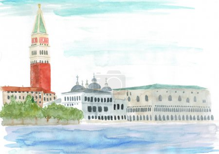Watercolor illustration of Piazza San Marco or st ...