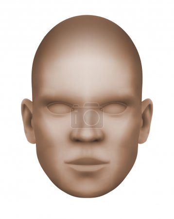 Imaginary human face, isolated three-dimensional  monochrome image on white background