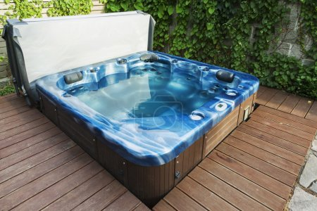 outdoor hot tub, jacuzzi on the garden
