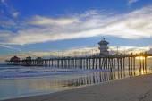 Beach Pier at California coast at twilight