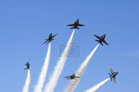Jet Airplanes Blue Angels F-18 Hornet formation break at 2015 Miramar Air Show in San Diego, California