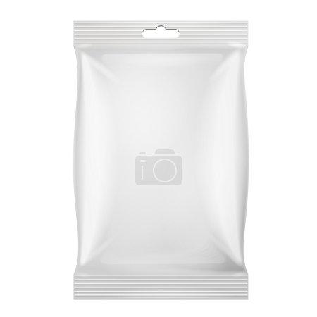 Illustration pour Emballage blanc de sac de collation de nourriture de feuille pour le café, le sel, le sucre, le poivre, les épices, le sachet, les bonbons, les croustilles, les biscuits. Illustration Isolé. Modèle maquillé prêt pour votre conception. Vecteur EPS10 - image libre de droit