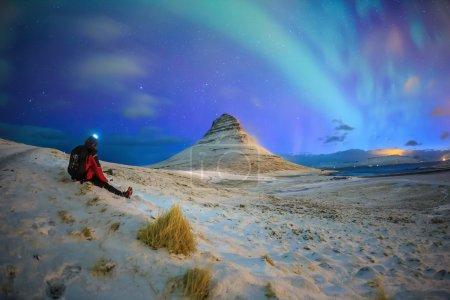 Spectacular northern lights appear over Mount Kirkjufell