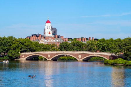 John W. Weeks Bridge with clock tower over Charles River in Harv