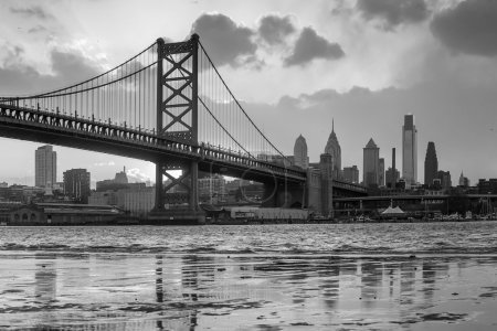 Panorama of Philadelphia skyline, Ben Franklin Bridge and Penn's