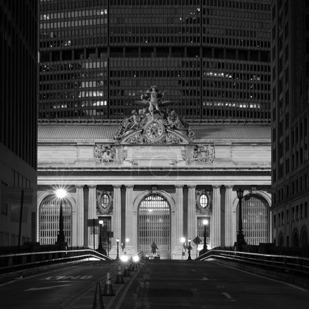 Facade of Grand Central Terminal at twilight in New York, USA
