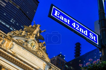 Facade of Grand Central Terminal at twilight in New York