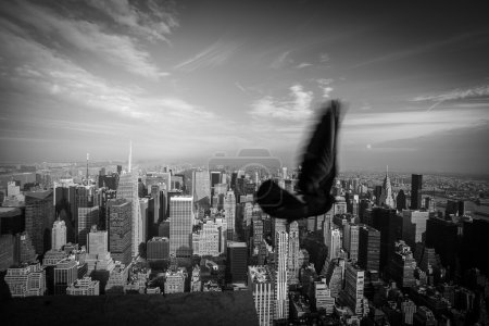 Photo pour New York City skyline et un oiseau - image libre de droit