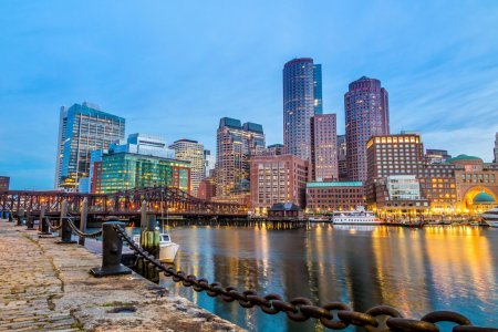 Photo for Boston Harbor and Financial District at twilight in Boston, Massachusetts. - Royalty Free Image